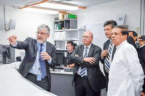 Sri Lankan President Maithripala Sirisena today (May 26) visited Australia's nuclear agency, the Australian Nuclear Science and Technology Organization (ANSTO), on an inspection tour to see its advanced research on utilization of nuclear science for disease diagnosis and medicine.