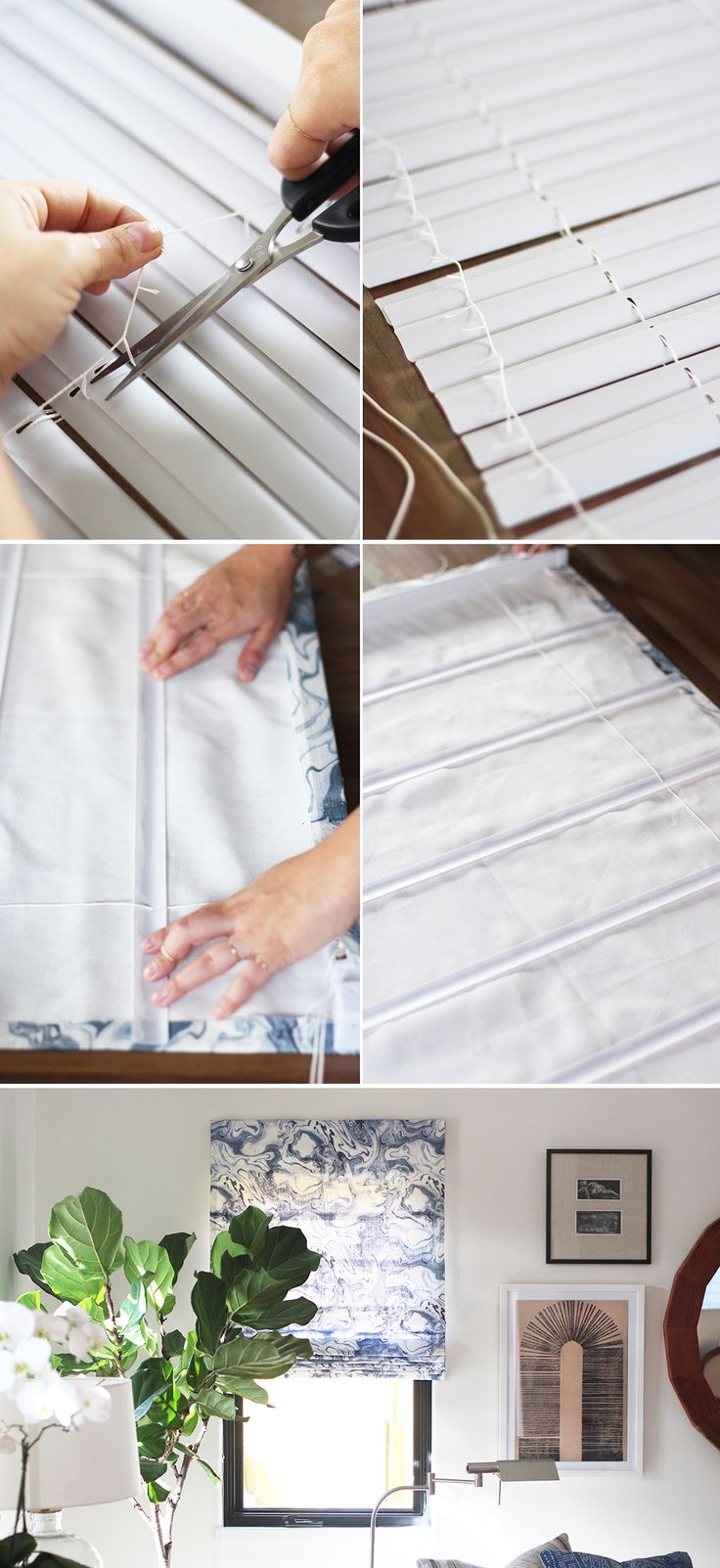 Easy to follow Roman Shades tutorial using vinyl mini blinds and Rebecca Atwood…