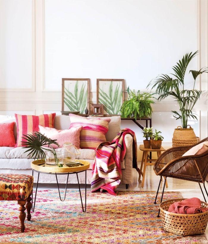 modèle de salon moderne et traditionnel, deco ethnique chic avec ...
