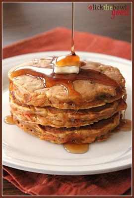 Carrot Cake Pancakes. Loaded with goodies they have all the basics that are in the actual cake, including shredded carrots, brown sugar, nuts, spices and crushed pineapple.