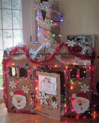"""Let the kids decorate their own """"gingerbread house"""" or """"santa's workshop"""" think I will let them do this on Christmas break!"""