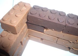 Chocolate legos- what a fun idea for something to do with kids :)....you know, until the chocolate melts all over them