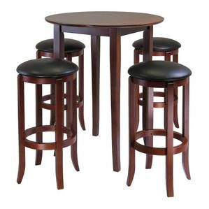 Winsome Wood Fiona Round 5pc High/Pub Table Set with PVC Stools