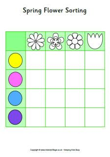 Spring flowers game board - a sorting game for preschoolers