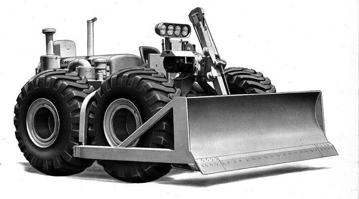 Compare this 1957 factory photo with the earlier 1946 machine and witness evolution in progress. Now on wide base tires this C Tournatractor is equipped with the standard S bulldozer blade, supplementary air cleaner and a lighting package
