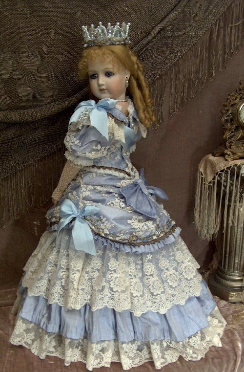 """""""EUGENIE"""" PORTRAIT JUMEAU BLUE SILK BALL GOWN  Antique Replica By Mary Benner"""