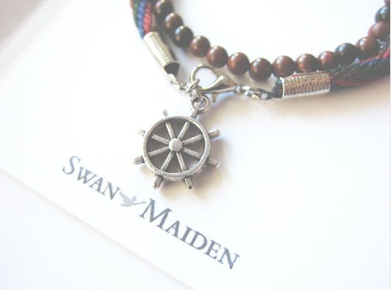Friendship Bracelet - Sailor Ship's Wheel Charm -  Red Blue Brown Green Handmade Bracelet - Forest Brown Beads Bracelet