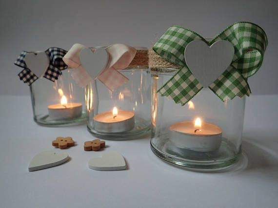 Hand Decorated Glass Jars  Glass Tea light Holders  Table