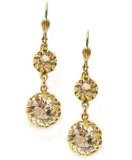 Catherine Popesco 14k Gold Plated Clear Swarovski Crystal Lace Bezel Set 2-Drop Earrings - Catherine Popesco 14k Gold Plated Clear Swarovski Crystal Lace Bezel Set 2-Drop Earrings    14K Gold Plating over a Copper baseThese hang 1.5 inches long with