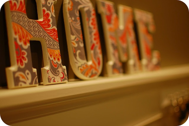 decorative wooden letters covered with scrapbook paper