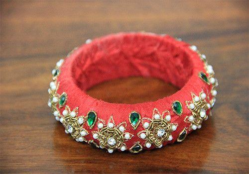Thick Red Zardozi Bangle – Desically Ethnic