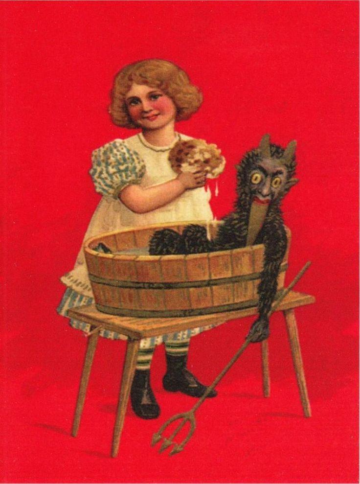 Girl Washing A Krampus Doll In A Tub Repro Postcard 31