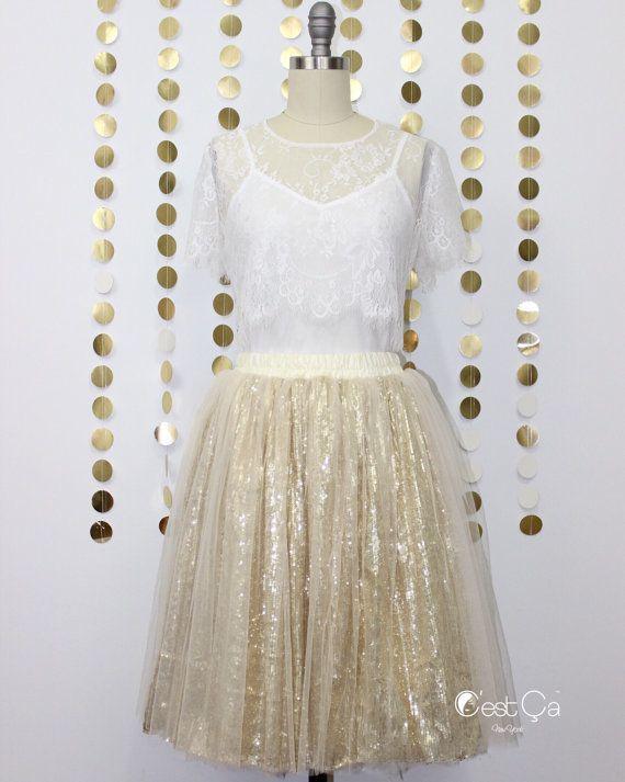 Chloé - Sequin Tulle Skirt, Champagne Tulle Skirt,