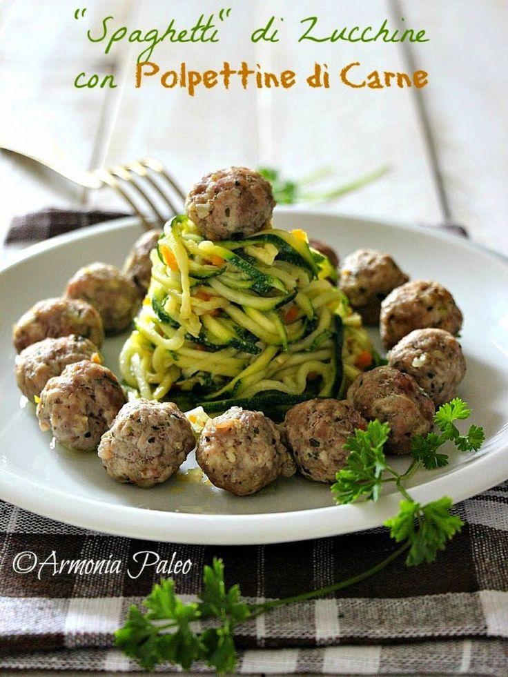 """Spaghetti"" di Zucchine con Polpettine di Carne"