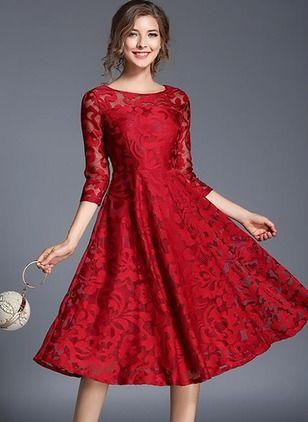 d710627259e Lace Solid 3 4 Sleeves Midi Dresses - Floryday   floryday.com Dresses For