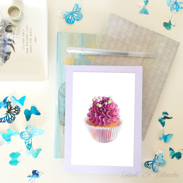 Blank Greeting Card / Pink Cupcake Card / Handmade Card / Blank Card / Food Card / Stationery / Thank you / Happy Birthday by BlackEnBlanche on Etsy