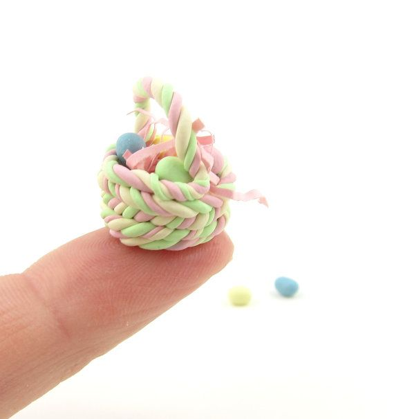Miniature Polymer Clay Easter Basket with Eggs