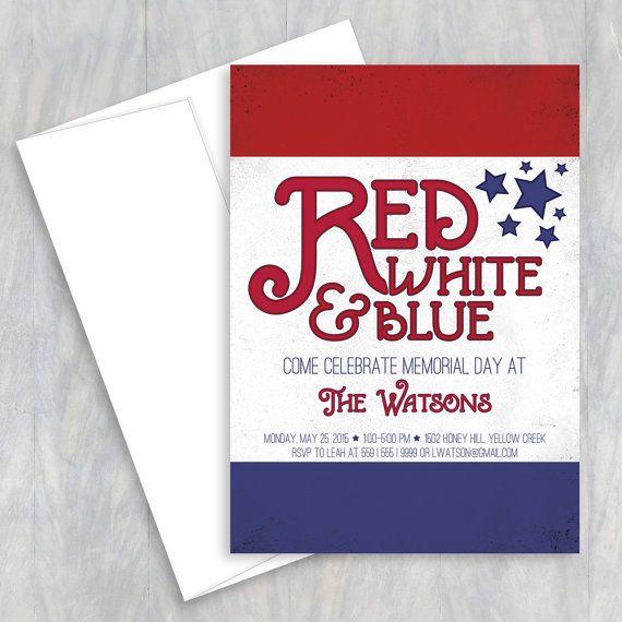 memorial day invite red white blue 4th of july invite bbq invite