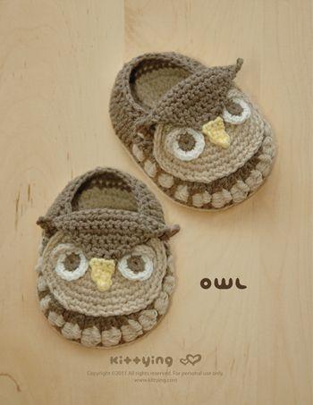 Owl Baby Booties Crochet PATTERN by Kittying.com / Mulu.us