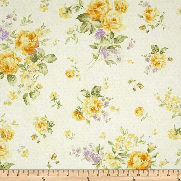 Zoey Christine Morning Dew Lemon Chiffon from @fabricdotcom%0A%0ADesigned by Eleanor Burns for Benartex, this cotton print fabric is perfect for quilting, apparel and home decor accents. Colors include shades of yellow, lavender, green, and cream.