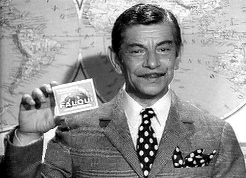 """lassativo Falqui, che lanciò lo slogan """"Falqui... basta la parola!"""". Tino Scotti ne fu il testimonial per ben 17 anni, dal 1957 al 1974."""
