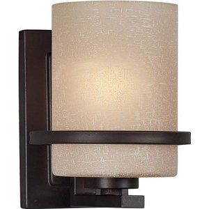 Forte Lighting 2404-01-32 1-Light Transitional Wall Sconce, Antique Bronze Finish with Umber Linen Glass Shade.