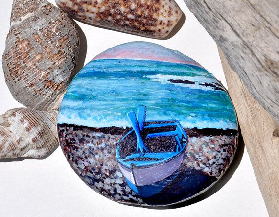Hand Painted Stone, Fishing Boat, Original Artwork, OOAK, Rock Art