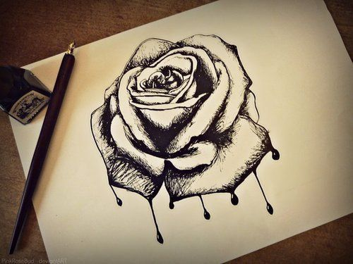 Rose drawing dark ink