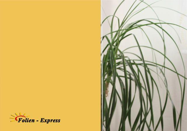 Goldig durchgefärbte Weich-PVC-Sichtschutzfolie mit elektrostatischen Eigenschaften, Haften ohne Klebstoff auf Flachglas.
