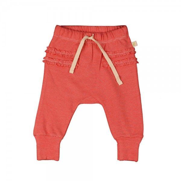 Organic Cotton Harrem Pants - Raspberry Stripes with Ruffle waist