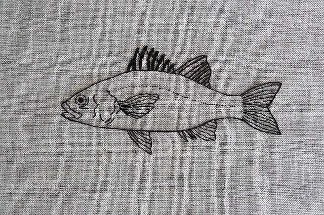 australian bass hand-embroidery by edwardandlilly