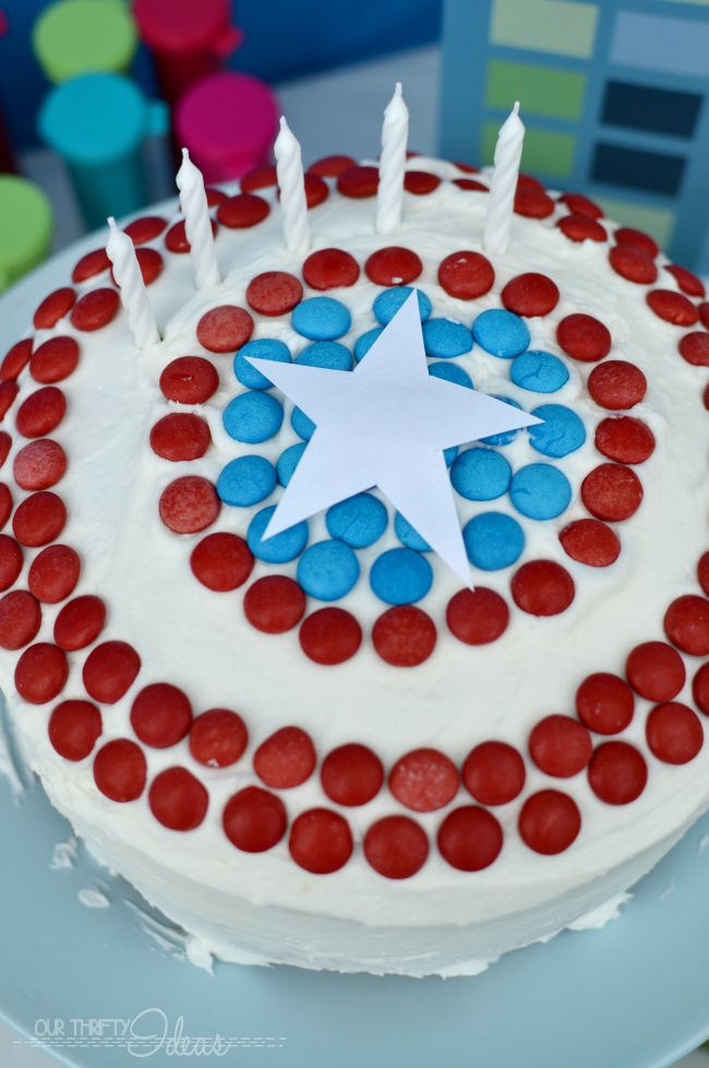 captain america cake for a super hero party #heroeseatmms #collectivebias #shop