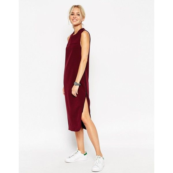 ASOS WHITE Sleeveless Zip Dress (37.305 HUF) ❤ liked on Polyvore featuring dresses, burgundy, white sleeveless dress, zipper dress, white dress, asos and round neck dress