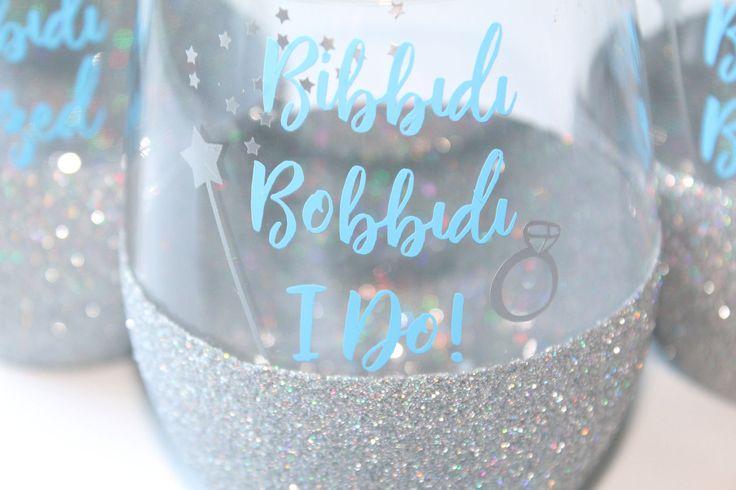 Disney Wedding // Disney Bride // Disney Bachelorette // Bibbidi Bobbidi I Do // Disney Wine Glass // Disney Princess // Fairytale Wedding by OhDarlingDrinkware on Etsy