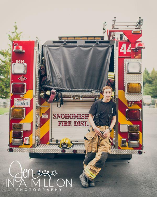 Senior boy. Fire station session. Senior firefighter. By Jen In A Million Photography
