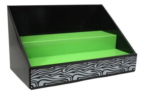 Cardboard Counter Display Black Lime Green Black & White Zebra – Stack Displays