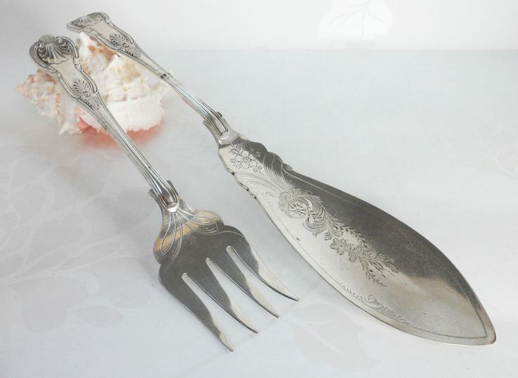 Antique Fish Serving Knife and Fork Set Richard Richardson Sheffield Plate