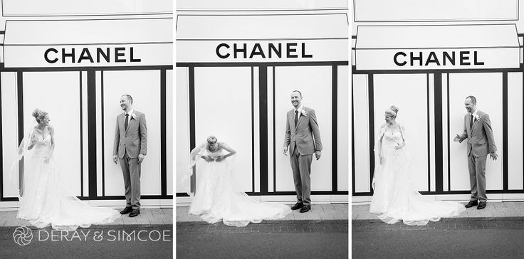 """Quirky wedding couple doing """"The Mannequin"""" in front of the Chanel store Location ~ King Street, Perth  Photography by DeRay & Simcoe"""