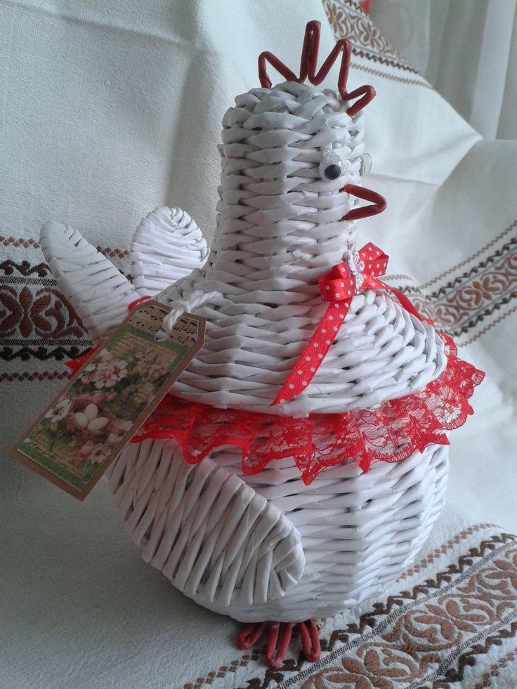 курочки, плетение из бумаги