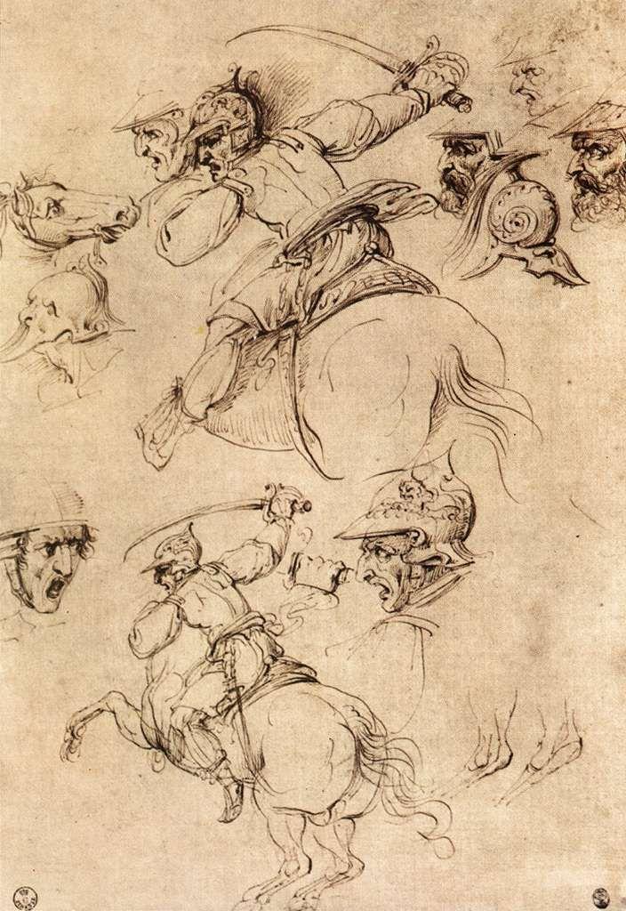 Study of battles on horseback by Leonardo da Vinci, Pen and ink   #TuscanyAgriturismoGiratola