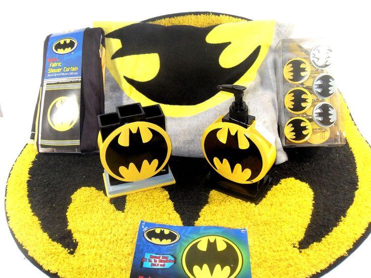 Batman Bathroom Set, Shower Curtain, Hooks, Bath Rug, Bath Towel, Pump Lotion, Toothbrush Holder
