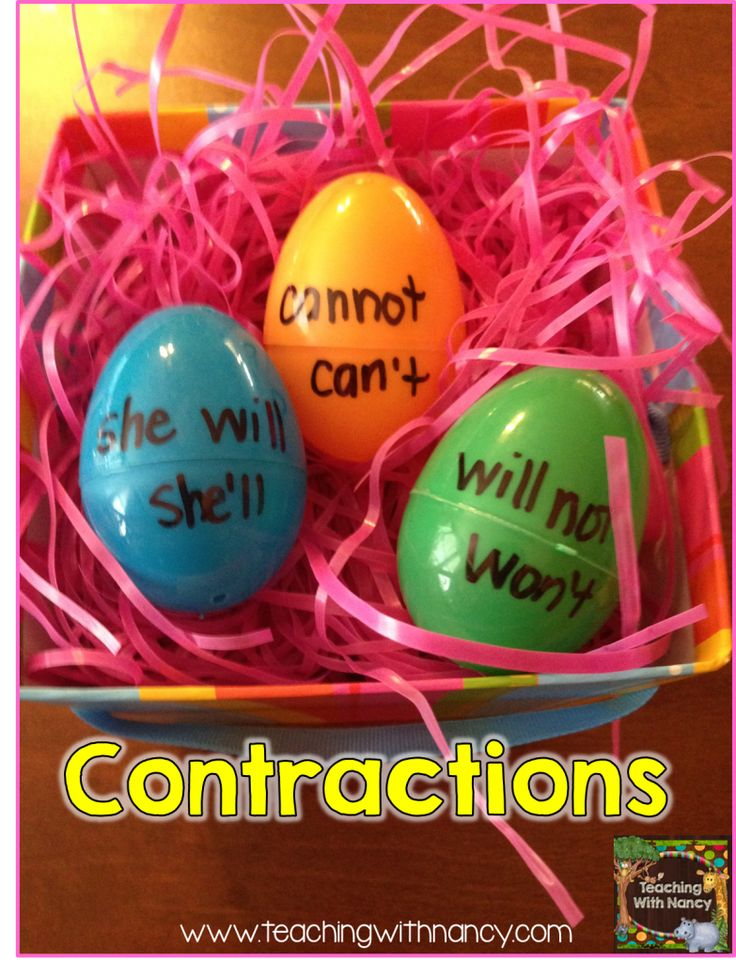 Contractions with plastic eggs ~ easy to match and then write on paper to show your work (Or, have an adult quickly check the eggs for accuracy before pulling apart and scrambling for the next center visitor.)