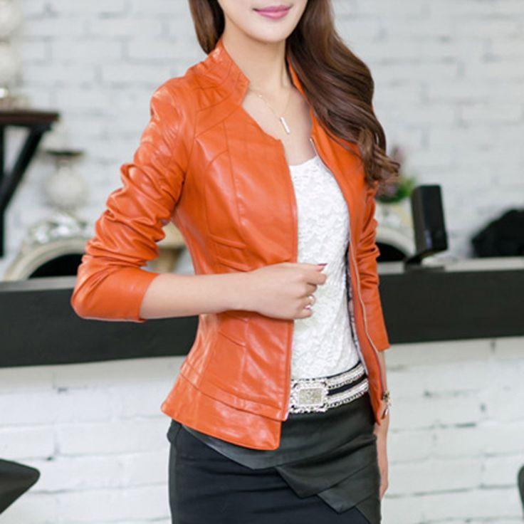 Женщины 2016 осень зима мода Большой размер кожи оранжевый черный короткие мото-pu кожаные дамы сексуальная пальто WWP100