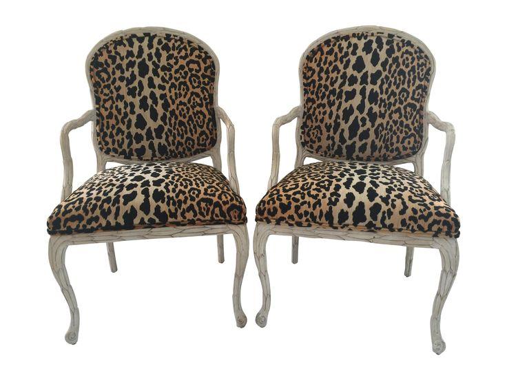 Italian Leopard Chairs - Pair on Chairish.com