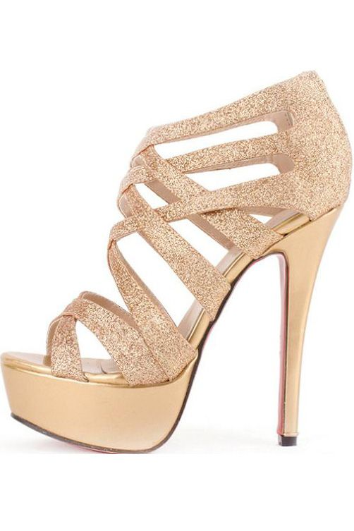 ff8d8c36b63 Gold Faux Leather Glitter Strappy Gladiator Platform Heels