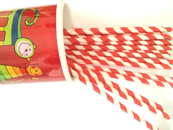 20 red paper drinking straws stripes birthday by Dotscutesupplies