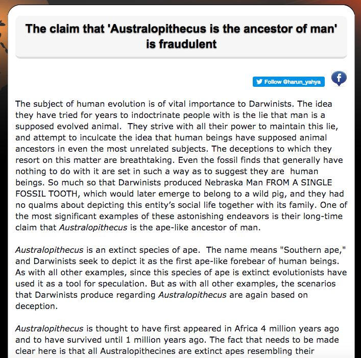 The claim that 'Australopithecus is the ancestor of man' is fraudulent