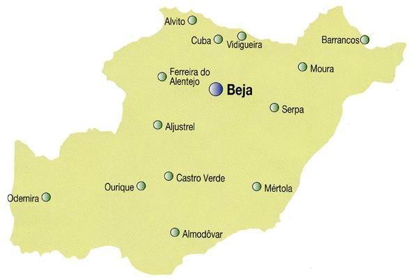 Mapa do Distrito de Beja, Portugal