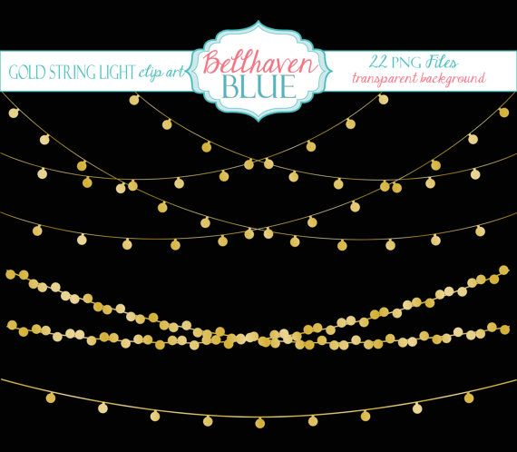 String Of Xmas Lights Clipart: String Lights, Lights And Gold
