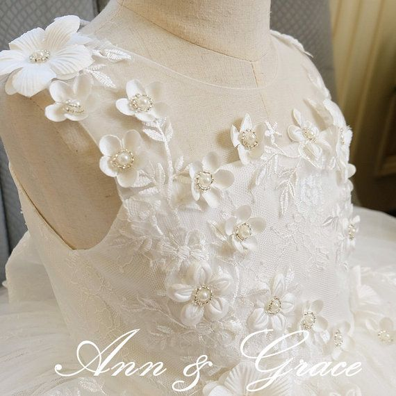 Ivory Lace and Tulle Flower Girl Dress Pearls and by AnnAndGrace